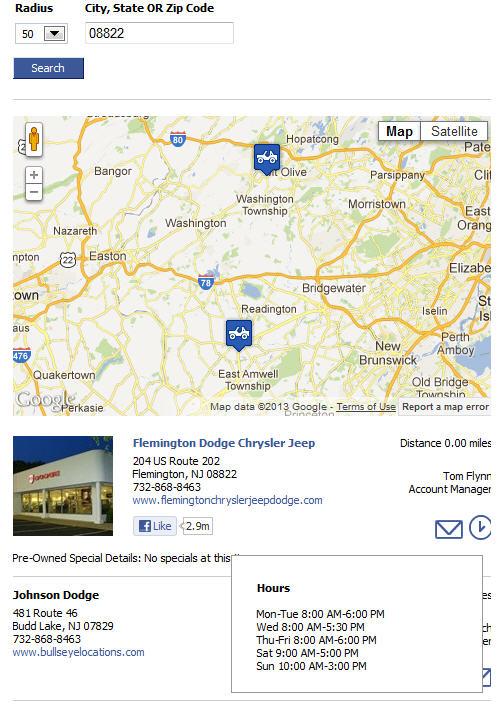 facebook store locator screenshot