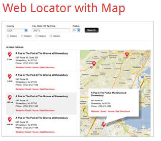 web locator with map