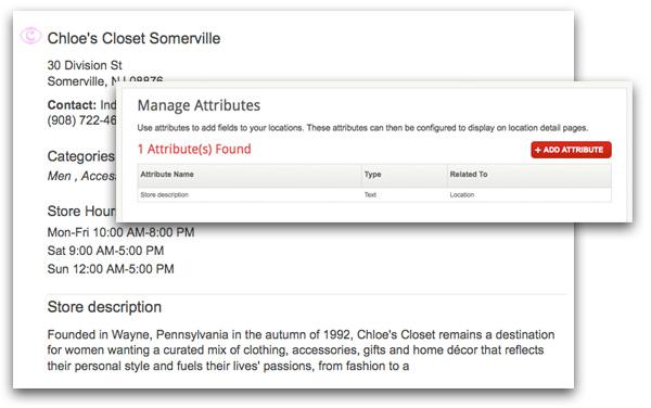 display custom attributes