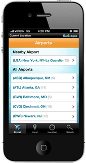 screenshot of thanks again mobile app airport list