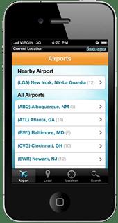 screenshot of thanks again mobile app airport list