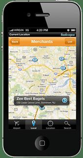 screenshot of thanks again mobile app map view