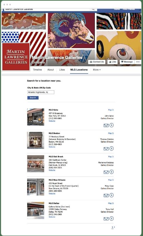 Facebook Store Locator App screen