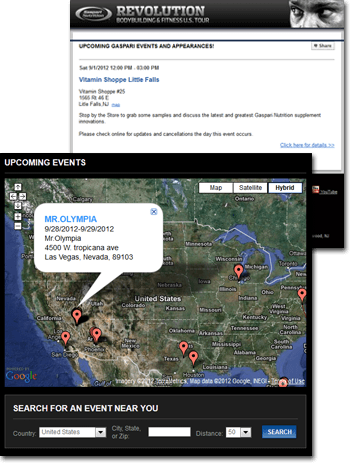 gaspari nutrition event map search and notification