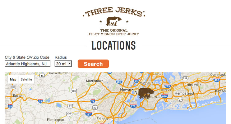 Three Jerks Jerky Store Locator
